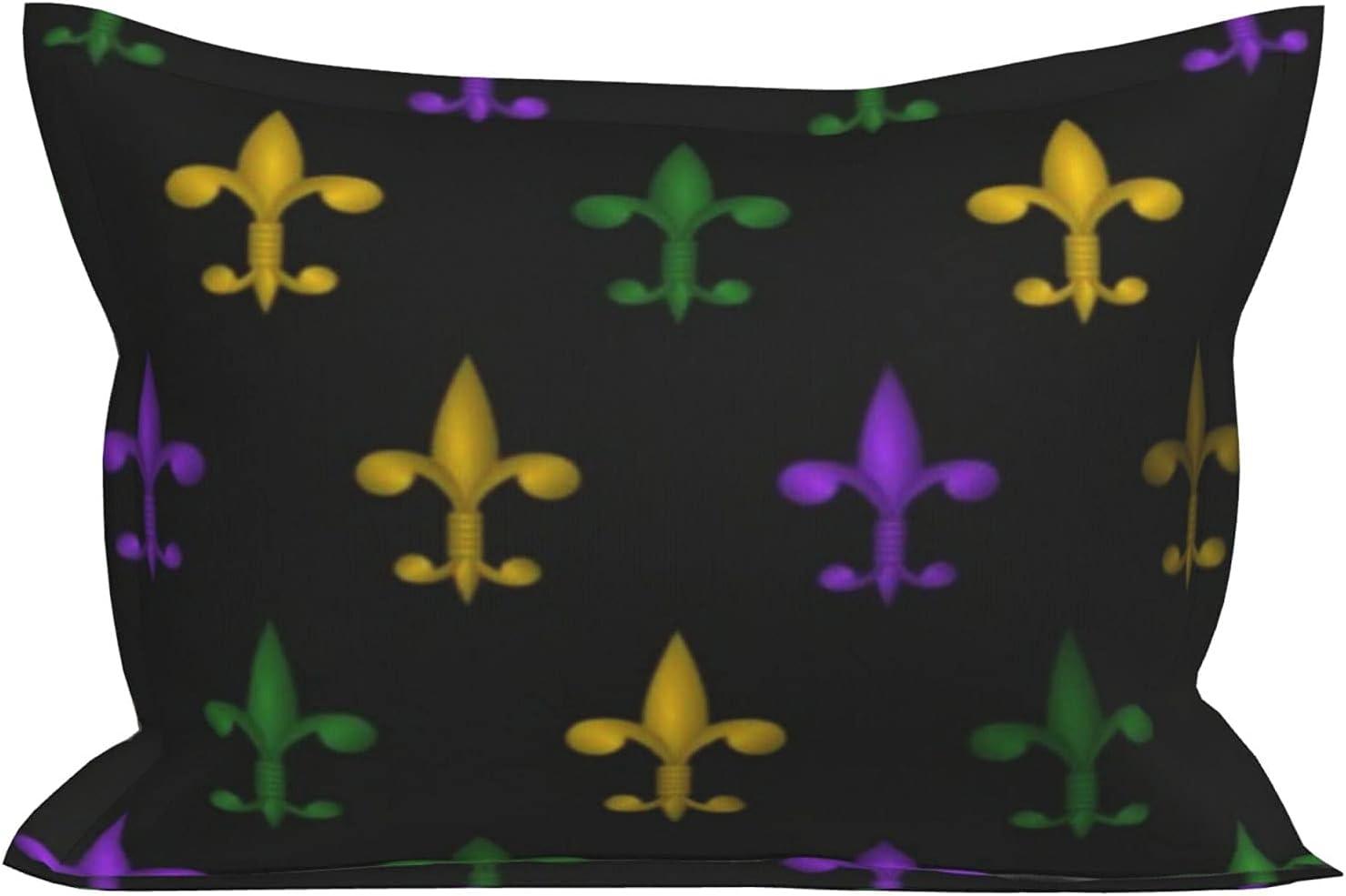 huaxian Fleur De Lis Mardi Gras Max 62% OFF Green - Sale Purple Pillowcase Gold