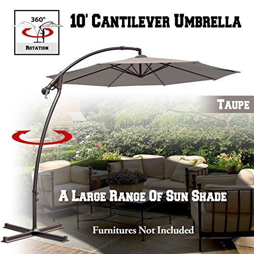 BenefitUSA 10'Cantilever Patio Umbrella Garden Outdoor Sunshade Hanging Market (Brown)