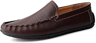 RongAi Chen Driving Loafer for Men Stitch Casual Boat Shoes Slip on Genuine Leather Round Toe Flat Wear Resistant Anti-Slip Solid Color (Perforated Optional)
