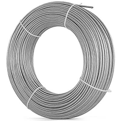 Mophorn 304 Stainless Steel Cable 7 X 19 Steel Wire Rope Steel Cable for Railing Decking DIY Balustrade