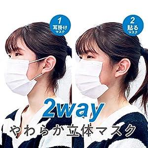 貼るマスク 耳が痛くならないマスク 【2wayやわらか立体マスク】5枚入 《9月決算期 先着セール価格》不織布 耳掛けマスク 耳が痛くないマスク ひもなしマスク 美容院 美容室 日本製 シール テープ 貼り直し 肌にやさしい
