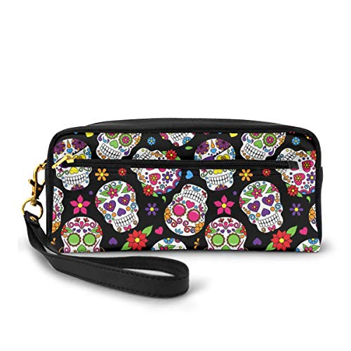 Dead Sugar Skull Pencil Case Big Capacity Multifunction Storage Pouch Leather Cosmetic Makeup Bag Stationery Organizer with Zipper for School Office