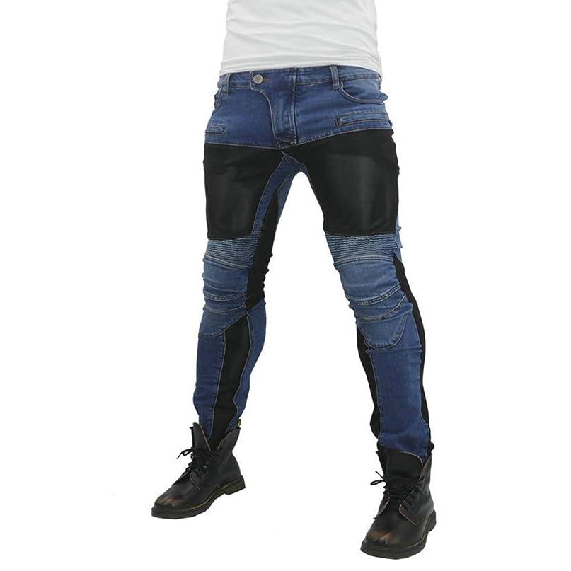 成功ジャンクション着実にバイクパンツ デニムパンツ バイク用 ジーンズ バイクウェア 膝プロテクター+ ヒップパット装備 レーシングパンツ 男女兼用 通気メッシュ付き 夏用 2色ブラック、ブルー展開 Colorwind