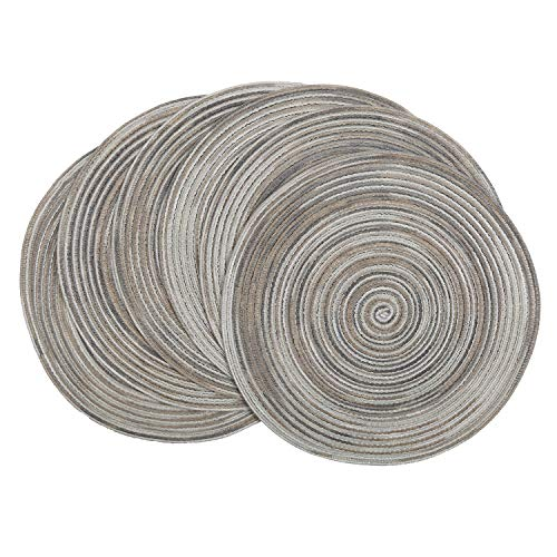 SHACOS Set of 6 Cotton Placemats Round Grey Braided Place Mats Washable for Dining Tables Fabric Round Table Mats Wipe Clean