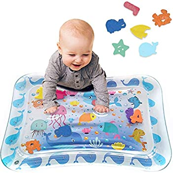 Tummy Time Baby Water Play Mat Inflatable Toy Mat for Infant & Toddlers Activity Center for 3 6 9 Months Newborn Boy Girl BPA Free  26  x 20