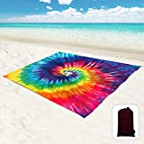 """Hiwoss Beach Blanket Sandproof Waterproof Oversized 95""""x 80"""",Sand Free Beach Mat with Portable Mesh Bag and Corner Pockets for Beach Festival,Picnic, Travel and Outdoor Camping,Rainbow Spiral Tie-Dye"""