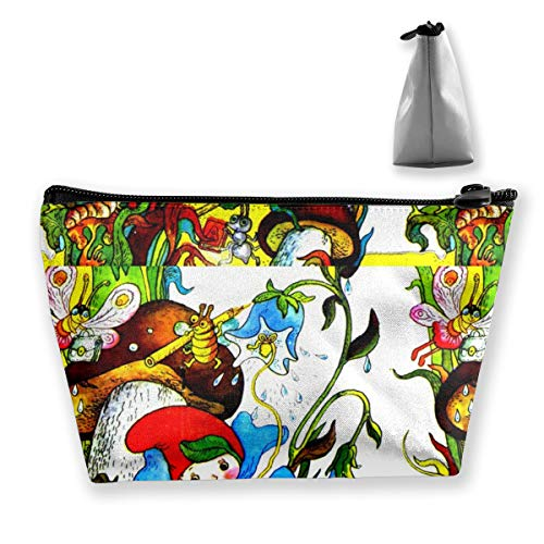 Multi-Functional Print Trapezoidal Storage Bag for Female Butterfly Insects Plants Flowers