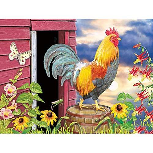 Diy - Kit per pittura a punto croce, con brillantini, motivo: gallina, 40 x 60 cm
