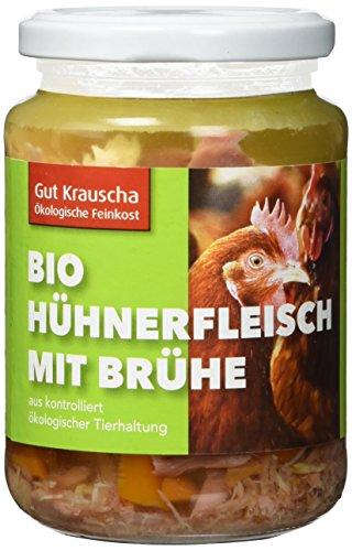 Gut Krauscha Bio Hühnerfleisch mit Brühe, 2er Pack (2 x 320 g)