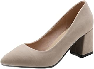 Smilice Court Shoes with Mid Chunky Heel Women Working Shoes