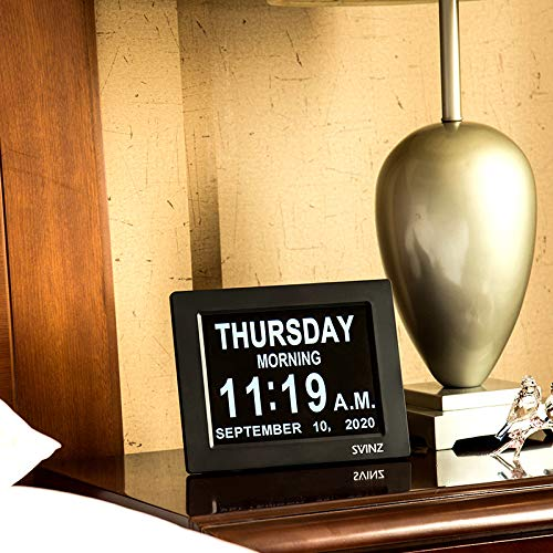 """SVINZ Newest 5 Alarms Dementia Clock, Day Clock w/ Snooze Button, 2 Auto-Dim Options, Large 8"""" Display Wall Digital Calendar Alarm Clock for Vision Impaired, Elderly, Memory Loss, Black, SDC008"""
