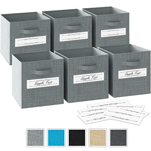 13x13x13 Large Storage Cubes - Set of 6 Storage Bins |Features Dual Fabric Handles | Cube Storage Bins | Foldable Closet Organizers and Storage | Fabric Storage Box for Home, Office (Grey)