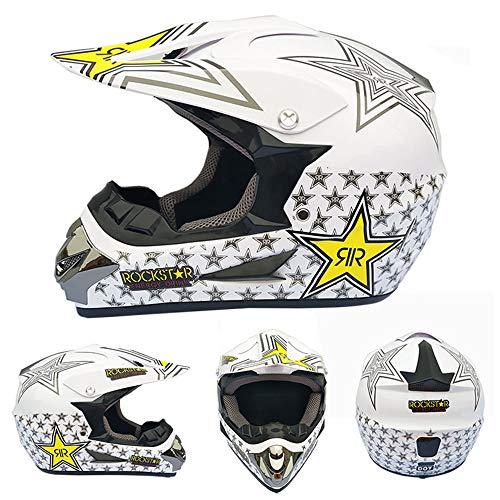 JCLDG Carretera Moto Casco Adulto Motocross Casco Off-Road Motorcycle Helmet Kit Casco Integral Unisex Enduro Quad MTB Downhill ATV con Gafas Guantes M/áscara para Hombres Mujeres