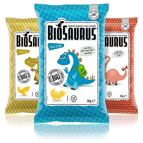Biosaurus Baked Organic Corn Snack für Kinder - 16x30g (Mix Box) - Gebackener knusprige Bio-Snack aus Mais, Nicht Frittiert | Low Fat, Glutenfrei, BIO, keine Chemie | - 16x30g (Mix Box)