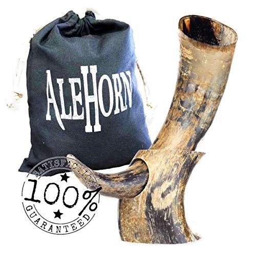 AleHorn Drinking Horn - 12 Inch Curved Style Drinking Horn with Stand - Viking Beer Cup with Natural Finish for Ale & Mead - Handcrafted Viking Horn Beer Stein - Authentic Holiday Gift