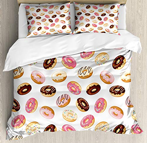 Ambesonne Food Duvet Cover Set, American Traditional Classic Breakfast Fast Food Dessert Tasty Donuts Art Print, Decorative 3 Piece Bedding Set with 2 Pillow Shams, Queen Size, Coral Cream