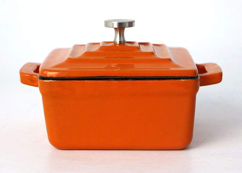 barato y de alta calidad Mini Crisol De Hierro Fundido Esmaltado, Cuadrado De 9 9 9 Cm Antiadherente Para Cocina, Almacenamiento De Alimentos,naranja  solo cómpralo