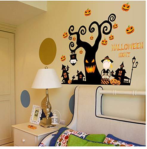 GKAWHH Hot 3D Halloween Kürbis Laterne Nacht Baum Wandaufkleber Schlafzimmer Wohnzimmer Boden Aufkleber Decor Vinyl/PVC Aufkleber Aufkleber 72 * 105 cm