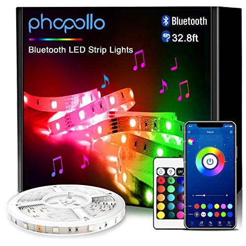Phopollo Smart Led Strip Lights, 32.8ft Flexible Led Lights with Phone Control and 24 Keys Remote for Bedroom, House and Holiday Decoration