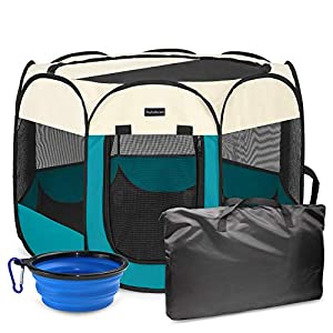 Autokcan Portable Pet Playpen, Dog Playpen Waterproof Foldable Indoor/Outdoor Travel Use Dog Kennel Pet Tent Pet Exercise Pen 3Size for Dog/Cat/Puppy/Rabbit/Hamster(S(29X29X17in with Free Bonus))