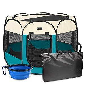 Autokcan Portable Pet Playpen, Dog Playpen Waterproof Foldable Indoor/Outdoor Travel Use Dog Kennel Pet Tent Pet Exercise Pen 3Size for Dog/Cat/Puppy/Rabbit/Hamster