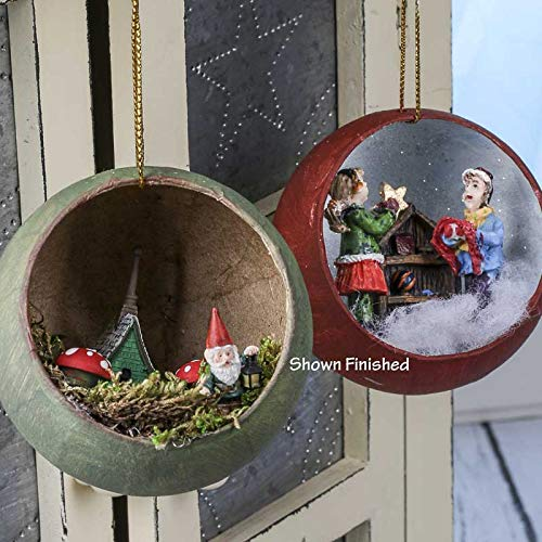 Factory Direct Craft Package of 12 Paper Mache Peek-a-Boo Diorama Round Ornaments - Ready to Finish and Decorate
