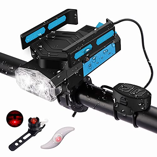 BNTTEAM Luz de bicicleta giratoria 5 en 1 con soporte de teléfono giratorio ruidoso Juego de luces traseras de campana de 130dB, banco de energía USB 4000mah recargable 4 modos de luz a prueba de agua