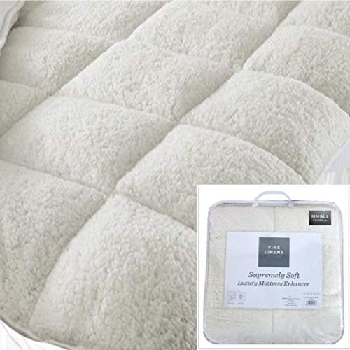 Fine Linens Luxury Super Soft Warm Teddy Fleece Mattress Topper Enhancer Bedding 3 (Single Size), Polyester