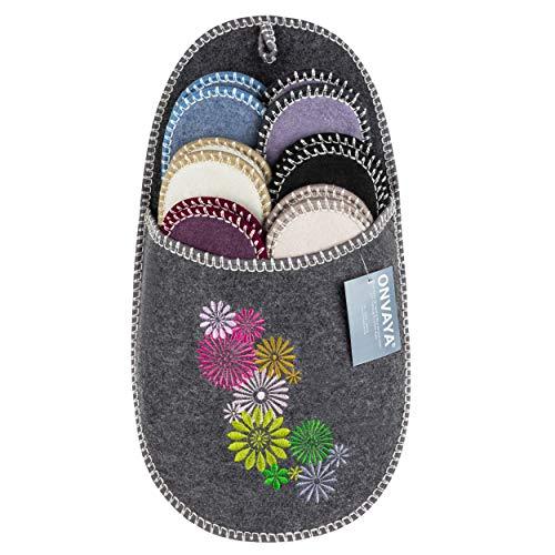 ONVAYA Zapatillas de huéspedes Antideslizantes | Conjunto de 6 | Zapatilla de Fieltro | Flores Grises