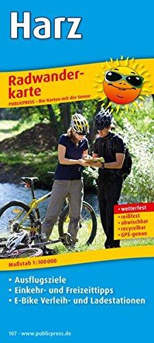 Preisvergleich Produktbild Harz: Radwanderkarte mit Ausflugszielen,  Einkehr- & Freizeittipps,  E-Bike Verleih- und Ladestationen,  wetterfest,  reissfest,  abwischbar,  GPS-genau. 1:100000 (Radkarte / RK)
