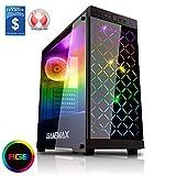 Game Max Polaris Gehäuse für Gamer-PC, mit RGB-Gehäuselüfter (4 x 12 cm), Seitenabdeckung aus gehärtetem Glas,Schwarz