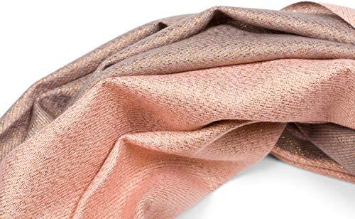 styleBREAKER Sciarpa glitterata da donna in nobile ottica a 2 facce con frange, 2 colori, sciarpa reversibile, stola multicolore 01017141, colore:Rosé-Grigio