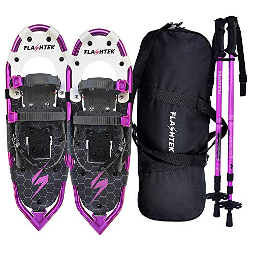 FLASHTEK 25/30 Inches Lightweight Snowshoes for Men Women Youth, Aluminum Terrain Snow Shoes for Hiking and Heel Lift Riser for Mountaineering with Trekking Poles and Carrying Tote Bag (Purple, 25')