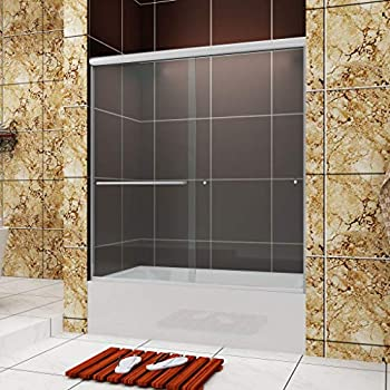 SUNNY SHOWER Frameless Bypass 2 Way Sliding Bathtub Door 1/4  Clear Glass Chrome Finish 60  L x 62  H