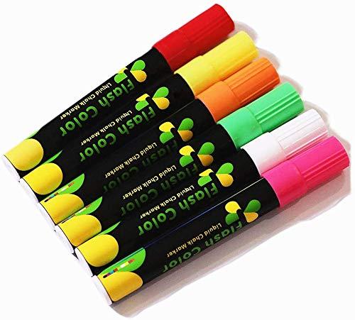 DEEDEEDA Highlighters Fluoreszierende Marker, schbare Led Blackboard leuchtende Marker Stift, 6 Farben LED Schreibtafel Marker-Ideal zum Dekorieren und Schreiben auf Glasplatte, chen.