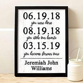 Adoption Dates Framed Print | Adoption Gift | Gotcha Gift | Gotcha Day | Adoptive Parents Gift |Gotcha Day - Adoption Gift Personalized Art Child Keepsake Gift Boys and Girls Adopt Adopted Present