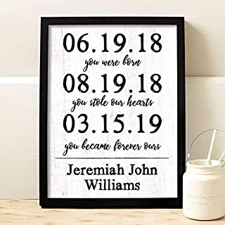 Adoption Dates Framed Print | Adoption Gift | Gotcha Gift | Gotcha Day | Adoptive Parents Gift |Gotcha Day - Adoption Gift Personalized Art Child Keepsake Gift Boys and Girls Adopt Adopted Present