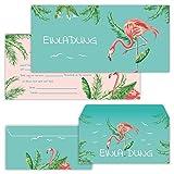 PAPERHELDEN 12 Flamingo Einladungskarten mit 12 Umschlägen zum Geburtstag für Kinder & Erwachsene   Mädchen Geburtstags-Einladungen zur Flamingo-Party