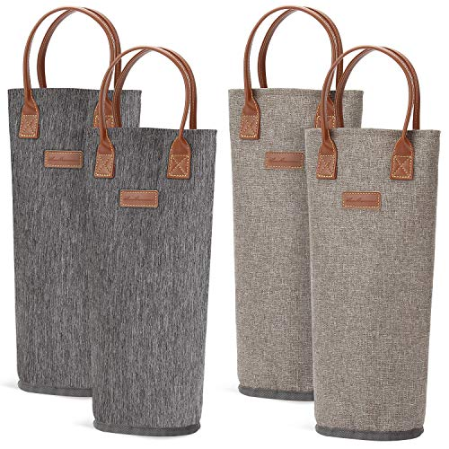4 Pack - Single Bottle Insulated Wine Tote, 1 Bottle Wine Carrier Bag Padded Wine Cooler Perfect Wine Lover's or Wedding Gift