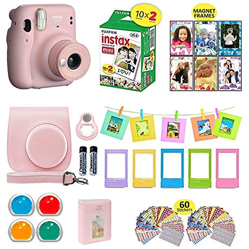 Fujifilm Instax Mini 11 Instant Camera Blush Pink + Shutter Compatible Carrying Case + Fuji Film Value Pack (20 Sheets) + Shutter Accessories Bundle, Color Filters, Photo Album, Assorted Frames