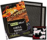 PhatMat Non Stick Grill Mats Mesh - Set of 2 - Nonstick Heavy Duty BBQ Grilling & Baking Accessories for Traeger, Recteq, Green Mountain, Smoker - 16' x 11'