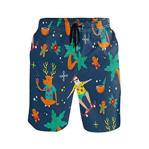 Mens Swim Trunks Quick Dry Colorful Funny Christmas Reindeer Santa Claus Board Shorts with Pocket Beach Shorts for Ball Sports