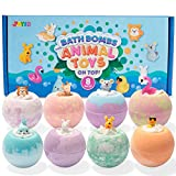 Bath Bombs for Kids with Animal Toys, 8 Packs Handcrafted...