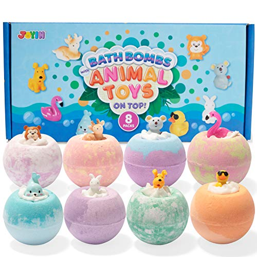 Bath Bombs for Kids with Animal Toys, 8 Packs Handcrafted Kids Bath Bombs with Surprise Toy on The Top, Natural Essential Oil SPA Bath Fizzies Set, Boys Girls Kids Birthday Holiday Gift Set