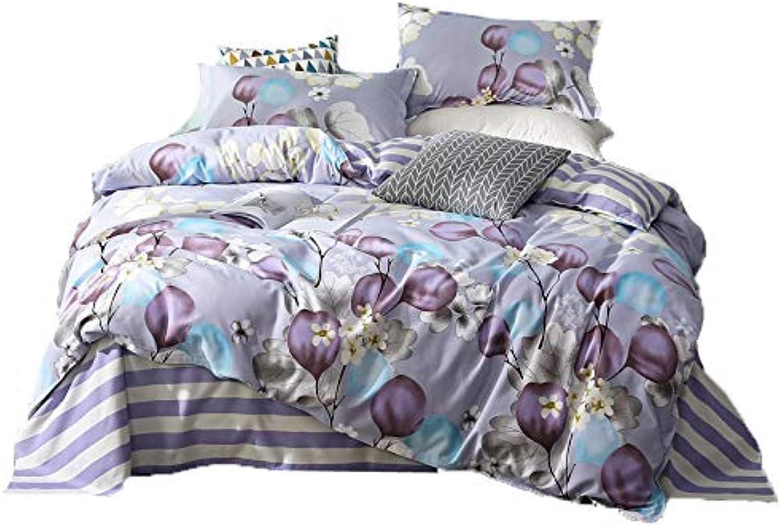 KFZ Bedding Set Duvet Cover Flat Sheet Pillowcase No Comforter 4pcs Set ZF Twin Full Queen King Sea Flower Butterfly Moon Nature Design for Adults Teens (Moon Flower, Purple, King,86 x95 )