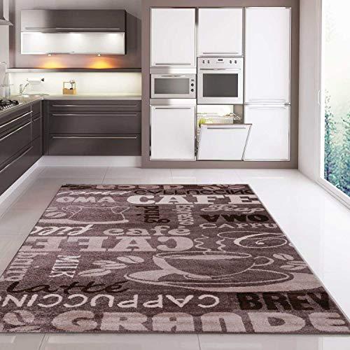 VIMODA Teppich Coffee Kaffee in Beige mit Schriften für die Cafe Lounge Küche oder Wohnzimmer, Maße:80x150 cm