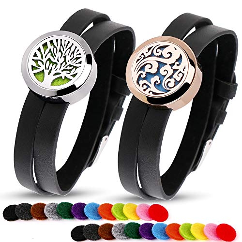 RoyAroma 2PCS Aromatherapy Essential Oil Diffuser Bracelets, Two Patterns Pendant Locket Jewelry, Stainless Steel Locket Bracelet Leather Wristband with 24 Felt Pads