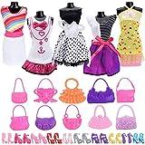 Asiv 25 pz Fashion Abbigliamento e Essenziale per Bambole Barbie Regali (5 Mini Carina Abi...