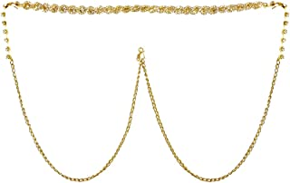 DollsofIndia White Stone Studded Golden Metal Kamarband for Women - Waistband - 11.5 inches Chain - 40 inches (KX91)