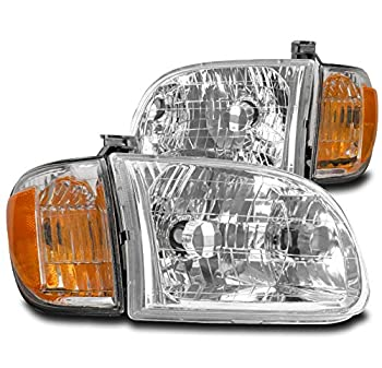 ZMAUTOPARTS Replacement Chrome Headlights Headlamps For 2000-2004 Toyota Tundra Regular/Access Cab